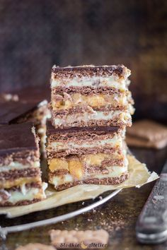 Cake Bars, Dessert Bars, Cute Desserts, No Bake Desserts, European Dishes, Cake Recipes, Dessert Recipes, Sweets Cake, Polish Recipes