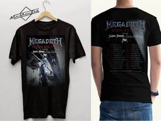 Megadeth tour 2016 Tshirt Black T-shirt Men Front Back #megadeth #davemustaine #livingthedream #megadethcyberarmy