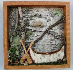 Framed Canoe Woodland Scene - Birch Bark Canoe