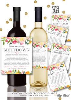 New Mom Gift Wine Labels From  Labels Mommy Milestones Baby