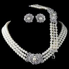 Rhodium Ivory Pearl & Rhinestone Necklace 76010, Earrings 76012 & Bracelet 76011 Vintage Floral Jewelry Set