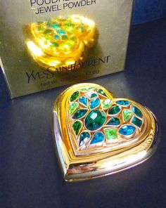 Yves Saint Laurent Rare Powder Compact, YSL Goossens, Vintage Jewel Green Heart, Christmas Gift Idea, Xmas, Free Shipping