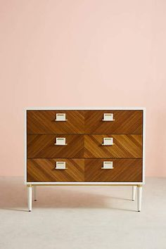 Shop vintage-inspired bedroom dressers, three- and five-drawer dressers and unique armoires in all shapes, colors and sizes. Unique Bedroom Furniture, Hanging Furniture, Furniture Sale, Furniture Design, Bedroom Ideas, Nursery Ideas, Three Drawer Dresser, Dresser Drawers, Anthropologie Home