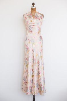 1930s Bias Cut Floral Print Dress - XS/S