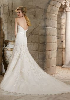 Majestic Embroidered Appliques on Net Wedding Dress | Morilee