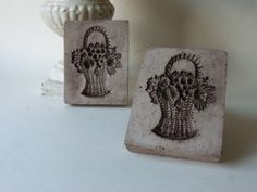 two cement fruit basket tiles by unpotpourri on Etsy