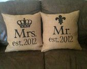 Personalized Mr. and Mrs. Burlap pillow