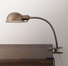 Academy Task Clip Lamp Antique Brass