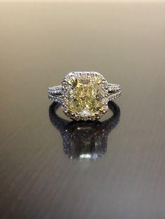 La bague de diamant jaune bague de fiançailles - bague de mariage diamant Radiant platine - platine diamant jaune art déco - GIA bague en platine par DeKaraDesigns sur Etsy https://www.etsy.com/fr/listing/385882848/la-bague-de-diamant-jaune-bague-de