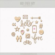 "Wood Veneer ""Happy"" by Gina Cabrera of Digital Design Essentials. Special thanks to Miss Tiina & Mommyish @ SugarHillCo.com. PU ONLY."
