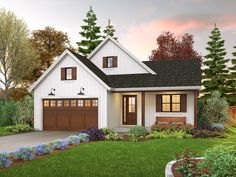 This farmhouse design floor plan is 1196 sq ft and has 3 bedrooms and has 2 bathrooms.