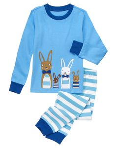Playful two-piece pajama set features a group of funny bunnies - one with a moustache! Striped bottom with ribbed cuffs easily pulls on for comfort.