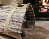 Rustic Cottage Wood Tote Log Carrier, Handwoven Wool Cabin Farmhouse Harvest Fireplace Hearth Winter Home Decor, Gift for Him, Dad, Father