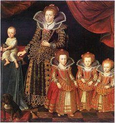Schilderij Jacob van Dort uit 1623 - Portrait of Kirsten Munk (1598-1658) and her children, Valdemar Christian (1622-1656), Anna Cathrine (1618-1633), Sophie Elisabeth (1619-1657) and Leonora Christiana (1621-1698) Jacob van Doort ca. 1623 (1620 - 1626)