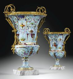 A PAIR OF GILT-BRONZE-MOUNTED SÈVRES SOFT-PASTE PORCELAIN `VASES MEDICI', ALMOST CERTAINLY SUPPLIED BY THE MARCHAND-MERCIER DOMINIQUE DAGUERRE, THE MOUNTS ATTRIBUTED TO PIERRE-PHILIPPE THOMIRE (1751-1843)  LOUIS XVI, CIRCA 1788-1790