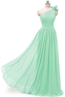 a646e68327c Mint Green One Shoulder A-Line Chiffon Bridesmaids Dresses - Beaded  Creations - South Africa