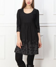 Another great find on #zulily! Charcoal & Gray Butterfly Empire-Waist Tunic - Women #zulilyfinds