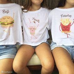 Pack de tres camisetas cortas BFF para chichas Confezione da tre magliette corte BFF per chicha Bff Shirts, Best Friend T Shirts, Best Friend Outfits, Cute Shirts, Twin Outfits, Cute Girl Outfits, Kids Outfits Girls, Preteen Girls Fashion, Girl Fashion