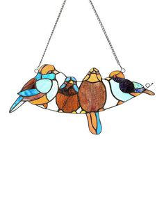 Look what I found on #zulily! Stained Glass Song Bird Window Panel #zulilyfinds