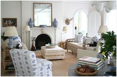 Mirror and ginger jars on mantel