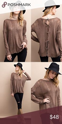 Mocha Lightweight Knit Open Back Tie Sweater New with tags. Mocha soft & light knit sweater with an open back and ties.                                                 PRICE IS FIRM UNLESS BUNDLED.                               ❌SORRY, NO TRADES. Boutique Sweaters Crew & Scoop Necks
