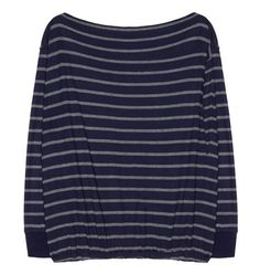Striped blouse with boat neckline