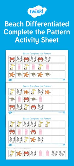 A great resource for teaching and reinforcing pattern concepts. This beach-themed resource features several differentiated activity sheets that cover different pattern types. Children will love completing the patterns using the beautifully illustrated pieces. The activity sheets can be laminated to make them lasting resources for your Ocean or Beach unit.