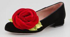 RED Valentino velvet rose smoking slippers