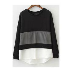 Black White Round Neck Loose Sweatshirt (125 VEF) ❤ liked on Polyvore featuring tops, hoodies, sweatshirts, black, long sleeve pullover, black sweat shirt, black and white tops, long sleeve tops and loose pullover