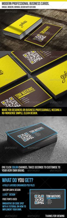 Modern Professional Business Cards - With QR Code  #GraphicRiver