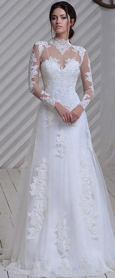 Elegant Tulle Illusion High Neckline A-line Wedding Dress With Lace Appliques