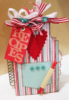 Awesome Image of Scrapbook Cookbook Ideas Projects Scrapbook Cookbook Ideas Projects Recipes Mini Book Scrapbook A Great Project To Make For A Mini Albums, Mini Scrapbook Albums, Scrapbook Cards, How To Make Scrapbook, Cricut, Little Presents, Recipe Scrapbook, Paper Crafts, Diy Crafts