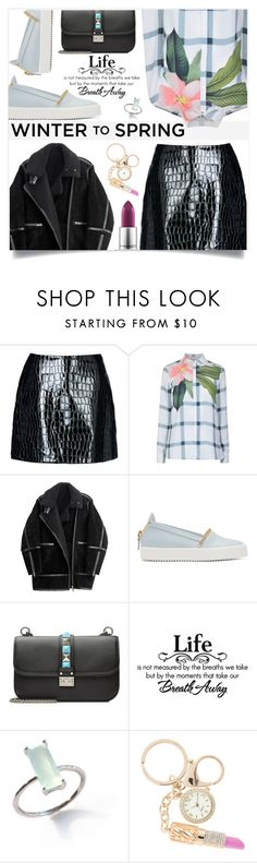 """Winter to Spring"" by sonny-m ❤ liked on Polyvore featuring Jolie By Edward Spiers, Ted Baker, H&M, Giuseppe Zanotti, Valentino and MAC Cosmetics"