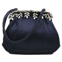 Navy Satin Rhinestone Koret Evening Bag ❤ liked on Polyvore featuring bags, handbags, evening handbags, navy blue purses, satin purse, satin evening bags and navy handbags