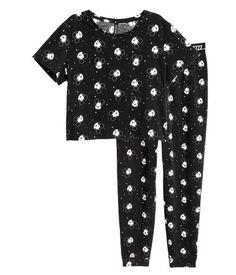Pajama Top and Pants | Black/Mickey Mouse | Ladies | H&M US