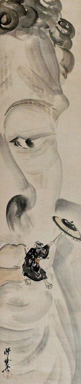 Buddha n' #Sukeroku [] [] by Kawanabe Kyosai 河鍋 暁斎 [] [May 18, 1831–April 26, 1889] [] perhaps the last virtuoso in traditional Japanese painting [] [] born at Koga, Kyosai was the son of a samurai [] his first aesthetic shock came at the age of nine when he picked up a human head apart from a corpse [] 明治初期に投獄されたこともあるほどの反骨精神の持ち主で、多くの戯画や風刺画を残している。狩野派の流れを受けているが、他の流派・画法も貪欲に取り入れ自らを「画鬼」とも号している。その筆力・写生力は群を抜いており、海外でも高く評価されている。最初の妻の父は鈴木其一、三番目の妻から生まれた長女暁翠、次男暁雲も日本画家。