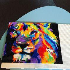 Colorful lion hama beads by metteoandersen