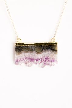 Simona V Amethyst Slice Double Bail Necklace