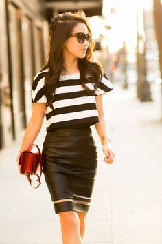 pencil skirt with loose crop top