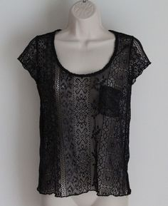 Kimchi Blue URBAN OUTFITTERS Size XS Black Lace Stretch Short Sleeve Top Nylon #KimchiBlue #KnitTop #URBANOUTFITTERS