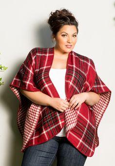 plus-size-fashion reversibleplaidponcho_red_black_white
