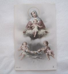 Special Lot of 4 Vintage Antique Catholic HOLY CARDS Christmas Nativity Scenes