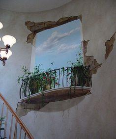 Storied walls trompe l oeil murals gallery Window Mural, Mural Wall Art, Mural Painting, Photo Wallpaper, Wall Wallpaper, Murals Street Art, Street Art Banksy, Art Public, Faux Window