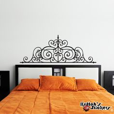 Wrought Iron Headboard Vinyl Wall Decal Design - fits above beds, couches and/or on any smooth non-porous surface U003 by KrittahStickers on Etsy