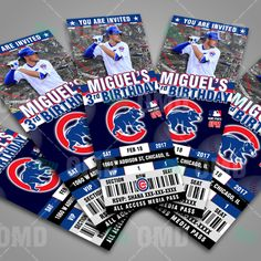 Chicago Cubs Ticket Style Sports Party Invitations #sportsinvites