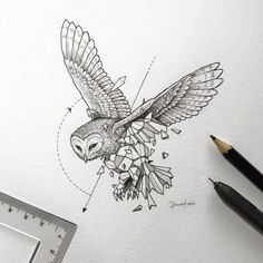 Geometric Art by Kerby Rosanes - Tattoos - Geometric paint Geometric Tattoo Bird, Geometric Drawing, Geometric Shapes, Geometric Wolf, Geometric Sleeve, Owl Tattoo Design, Tattoo Designs, Tattoo Ideas, Beautiful Drawings