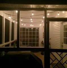 String Lights for the Screened Porch - Charleston Crafted Porch String Lights, Porch Ceiling Lights, Outdoor Porch Lights, Hanging Lights On Patio, Decorative String Lights, Outside Porch Lights, Ceiling Fan, Ceiling Hooks, Diy Hanging