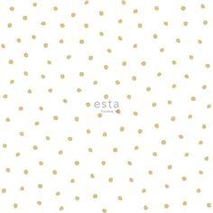138937 HD vliesbehang onregelmatige sneeuwvlok polka dot stippen goud en wit