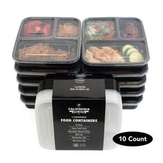 3 Compartment Stackable Meal Prep Containers