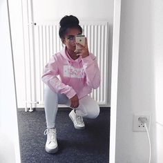 "Pink hoodies are a must have though - • Pink Hoodie: @svndzx_wear • White Skinnies: @ikrushcom discount code: ""ROSEMAN15"" • Sneakers: @presidentialsamsterdam"